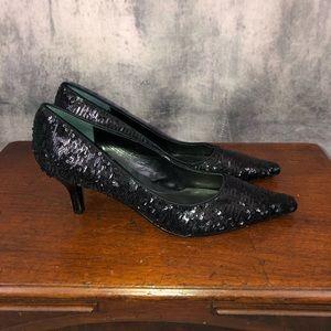 Bandolino Black Sequin Pointy Toe Heels 7.5M  NWOB